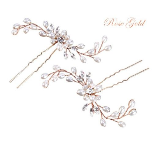 Rose gold pearl bridal hair pins